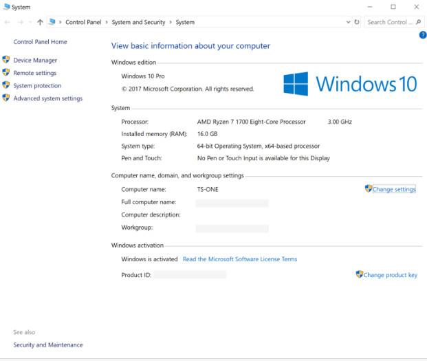 Mở cửa sổ thông tin hệ thống