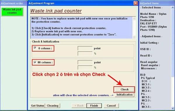 hướng dẫn reset counter tràn bộ đếm Epson 1390