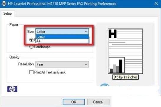 cách chỉnh khổ giấy trong máy in